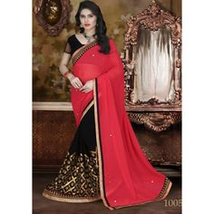 Designer Womaniya Red & Black Embroidery Georgette Saree with Blouse at just Rs.1575/- on www.vendorvilla.com. Cash on Delivery, Easy Returns, Lowest Price.