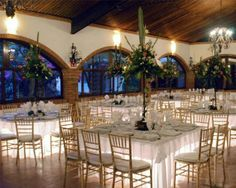 Mexican wedding at a hacienda. Tables uplight from the bottom. Exterior Design, Interior And Exterior, Grand Terrace, Hacienda Style Homes, Function Hall, Tiny House Furniture, Barn House Plans, Garden Wedding Decorations, Hall Design
