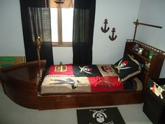 Pirate ship bed for keagan, homemade!