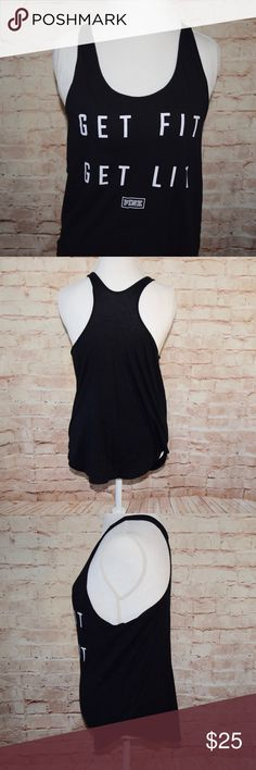 """Victoria's Secret PINK Tank PINK """"Get Fit, Get Lit"""" Tank  Victoria's Secret PINK Tank. Size Large.  Flat Lay Measurements Length: 26 inches Width: 18 inches PINK Tops Tank Tops"""