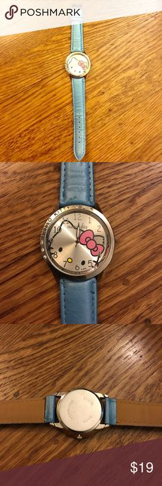 Blue hello Kitty watch Blue hello kitty Watch with Crystal detail made by Sanrio. Needs new battery. Sanrio Jewelry