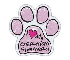 Pink Scribble Paws: I LOVE MY GERMAN SHEPHERD | Dog Paw Shaped Car Magnets