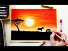 Drawing an African sunset with soft pastels | Leontine van vliet - YouTube