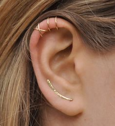 Modern Minimalist Set of 3 Ear Climber Ear Cuff Double Ear