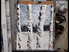 """Cours de peinture au couteau """"Les arbres sous la neige"""" par Nelly LESTRADE - YouTube"""