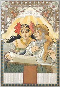 V Palyart Vintage Poster (artist: Auzolle) France c. 1901 (Art Prints, Wood & Metal Signs, Canvas, T Art Nouveau Mucha, Bijoux Art Nouveau, Art Nouveau Poster, Vintage Poster, Vintage Postcards, Holiday Postcards, Vintage Ads, Vintage Prints, Tarot