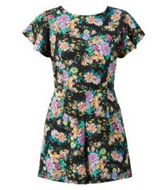 Black Floral Print Frill Sleeve Playsuit