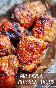 These air fryer chicken thighs are so good that youll be making them again and again Quickly marinated in a delicious Asian inspired sauce they are slightly sweet from ma. Air Fryer Recipes Snacks, Air Frier Recipes, Air Fryer Recipes Breakfast, Air Fryer Dinner Recipes, Air Fryer Chicken Thighs, Air Fryer Chicken Tenders, Air Fryer Chicken Thigh Recipe, Air Fryer Chicken Recipes, Chicken Thights Recipes