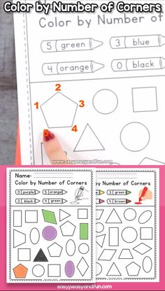 Color by number of corners shapes worksheets for kids.