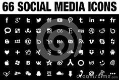 66 simple flat Social Media icons collection, white, the base must have set of icons for webdesign and graphicdesign with all the new versions of the most popular social media logos. Vector files are the best for printinting and resizing.