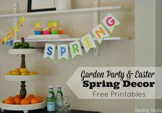 Free Spring Printables - Garden Party, Easter or Spring Party Decor with FREE Printables
