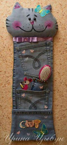 Let's Continue to Submit Crafts from Jeans (denim) Jean Crafts, Denim Crafts, Fabric Crafts, Sewing Crafts, Sewing Projects, Sewing Jeans, Denim Ideas, Recycle Jeans, Old Clothes