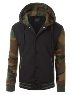 This varsity camouflage baseball bomber jacket with hoodie will never go out of style! You can wear day or night with a basic t-shirt and jeans. Its inner fleece material will keep you warm all day lo