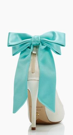 TIffany blue bow heels by kate spade new york. Something blue heels girls to sign bottoms.