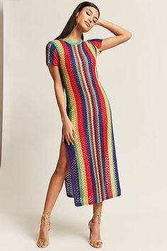 Colorful Stripes Split-side Cover-up Swimwear Colorful Stripes Split-side Cover-up Swimwear – bonboho Crochet Summer Dresses, Crochet Lace Dress, Knit Dress, Dress Skirt, Knit Crochet, The Dress, Midi Dresses, Vintage Crochet Dresses, Prom Dress