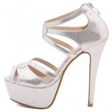 Sexy Dress Shoes High Heel 14cm Silver Color