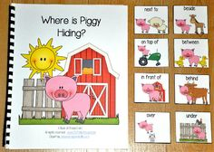 """Preposition Adapted Books focus on positional words or prepositional phrases. This book, """"Where is Piggy Hiding?"""" is a farm themed adapted book that focuses on positional words and colors. In this activity, the teacher or therapist reads the story as the students match positional words or preposition cards to each page. Students must identify where the pig is in relation to the farm animal or object on each page. Sample Verse: """"Where is Piggy hiding? Where can he be? He's behind the brown…"""