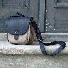 Leather handmade small black and light brown crossbody bag Ladybuq