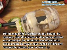 Vous ne savez pas comment finir votre pot de mayonnaise ? C'est rageant de le jeter alors qu'il en reste encore dedans... J'étais comme vous jusqu'à ce que je découvre un truc pour finir le pot de mayonnaise entièrement. L'astuce est d'en faire une vinaigrette pour la salade :