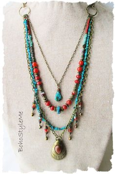 brass rustic necklace brass funky bohemian jewelry boho crescent necklace Onyx gypsy statement necklace