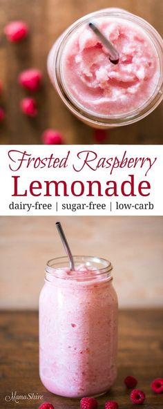 Frosted Raspberry Lemonade – Delicious and refreshing! Dairy-free, sugar-free, l… Low Carb Drinks, Healthy Drinks, Healthy Food, Nutrition Drinks, Dinner Healthy, Eating Healthy, Healthy Tips, Frappuccino, Refreshing Drinks