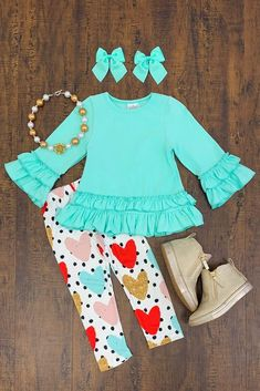 Mint Tunic & Heart Leggings