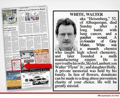 'Breaking Bad' -- Walter White Gets REAL OBIT In Hometown Newspaper