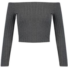 Gray Off Shoulder Long Sleeve Ribbed T-shirt (€16) ❤ liked on Polyvore featuring tops, crop tops, shirts, crop, long sleeves, gray long sleeve shirt, grey crop top, off shoulder ribbed top, long sleeve cotton shirts and long sleeve shirts