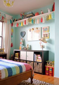 The typical children's space is also growing and changing to accommodate more activities than just sleep. Designated spaces for homework, crafts, reading, and more adventurous play are all becoming part of many layouts. ideas for toddler girl Big Girl Bedrooms, Little Girl Rooms, Colorful Girls Bedrooms, Small Bedroom Ideas For Girls, Toddler Girl Rooms, Boy Girl Room, Bedroom Girls, Child Room, Bedroom Wall