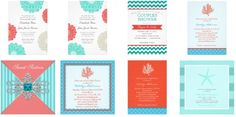 Coral and Turquoise Wedding Invitations