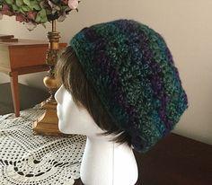 Crochet slouchy hat, crochet hat, multicolor beanie by OnceUponARoll, $19.00 USD