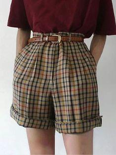 Plaid Shorts, Casual Shorts, Plaid Pants Outfit, Plaid Outfits, Yellow Shorts, Women's Shorts, Linen Shorts, Retro Outfits, Cheap Fashion