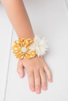 Mustard corsage, ivory corsage, flower girl corsage, wedding corsage, elastic bracelet, prom corsage, baby shower corsage, mom to be corsage - La Bella Rose Boutique