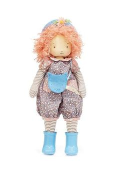"Grey Eyes and Freckles HABA Boy Doll Steven 15/"" Soft Doll with Dark Hair"