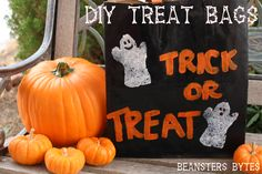 Custom Halloween Trick or Treat Bags using @Whole Foods Market recycled paper bags! Easy and fun for the whole family. DIY, toddler friendly
