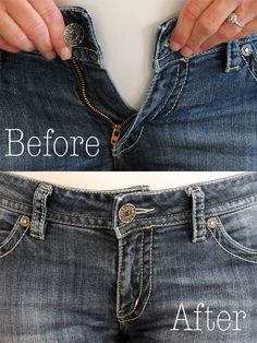 How to Make the Waist Bigger on Jeans. You can easily make the waist bigger of your jean to fit your waist perfectly.How To Make The Waist Bigger In A Pair Of Jeans . instead of getting rid of a pair of jeans that is too small in the waist, make them Altering Jeans, Altering Clothes, Sewing Hacks, Sewing Tutorials, Sewing Tips, Sewing Lessons, Sewing Box, Sewing Patterns Free, Free Sewing