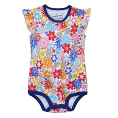 Jumping beans spring summer cotton kids baby girl infant short sleeve triangle rompers thoracotomy jumpsuits bodysuit flowers