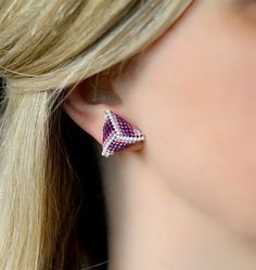 Modern triangle stud earrings from Japanese beads - white, mauve, purple Bar Earrings, Statement Earrings, Handmade Jewelry, Handmade Items, Unique Jewelry, Lapis Lazuli Earrings, Silver Bars, Beautiful Necklaces, Mauve