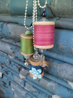 Examples of the thread spool jewelry we're making for this month's FREE craft session with Crown Town Handmade. Aren't they cute? Check out the details on our Facebook page and come join us if you're in the Charlotte, NC area.  www.facebook.com/events/446706048753573/