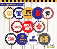 Transformers Cupcake Toppers for Transformers Birthday Party. In 12 designs…