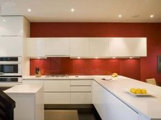 Granito branco na cozinha vermelha?