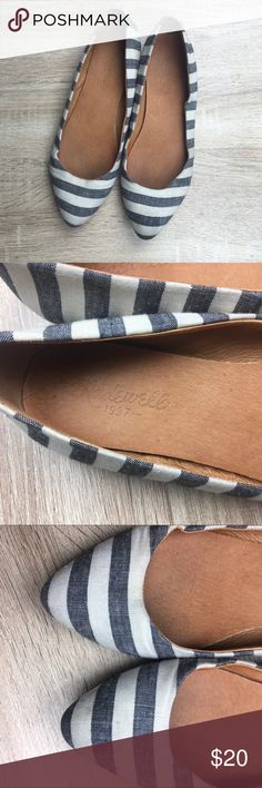 Madewell Linen Striped Pointed Toe Flats Size 6 good used condition. A spot on top of one of the toes and a little on the sides (see photos) Madewell Shoes Flats & Loafers