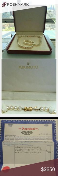 MIKIMOTO Pearls One strand of cultured pearls consisting of 46 pearls 8x 8.5 mm with 18kt gold clasp. Jewelry Necklaces