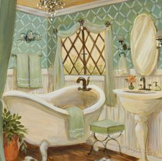 Art Print: Designer Bath Art Print by Karen Dupré by Karen Dupré : Bath Art, Bathroom Art, Bathroom Curtains, Bathroom Colors, Washroom, Shower Curtains, Shabby Vintage, Vintage Decor, Etiquette Vintage
