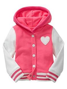 I never pin clothes for Sophia but seriously.////Heart varsity jacket-How adorable is this? Toddler Girl Style, Toddler Girl Outfits, Toddler Fashion, Kids Outfits, Kids Fashion, Cute Outfits, Fashion Games, Toddler Girls, Womens Fashion
