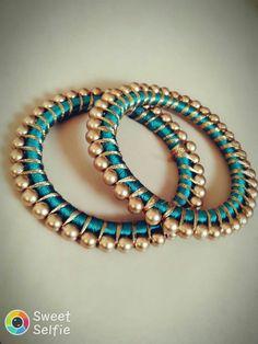 Silk Thread Earrings Designs, Silk Thread Bangles Design, Silk Bangles, Bridal Bangles, Thread Jewellery, Bridal Jewelry, Bridal Accessories, Gold Temple Jewellery, Bangles Making