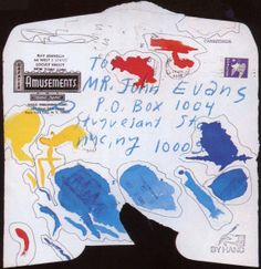 Ray Johnson, enveloppe aquarellée, 1981