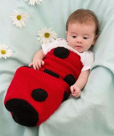 35  Adorable Crochet and Knitted Baby Cocoon Patterns --> Ladybug Baby Cocoon