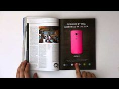 After a long day in front of the computer, the ads in a paper magazine can seem a little flat. Where's the interaction? Where's the content? Moto is filling that gap with this cool full-page magazine advertisement that lets you pick your favorite Moto X color with the push of a button. Just like the internet!
