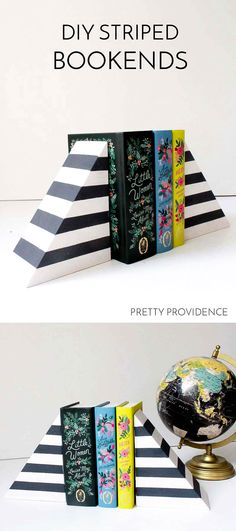 DIY striped bookends - look like West Elm but these are sooo inexpensive and easy to make!!! Love a good West Elm copycat!